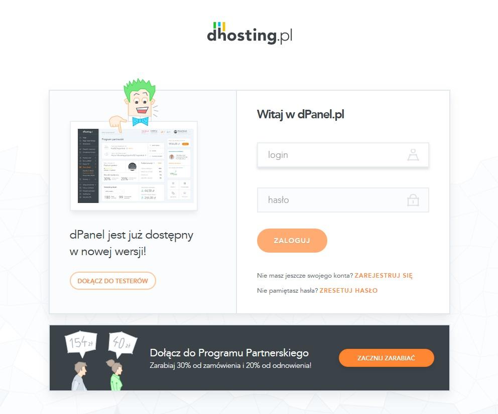 Dostęp dopanelu hostingowego dhosting.pl