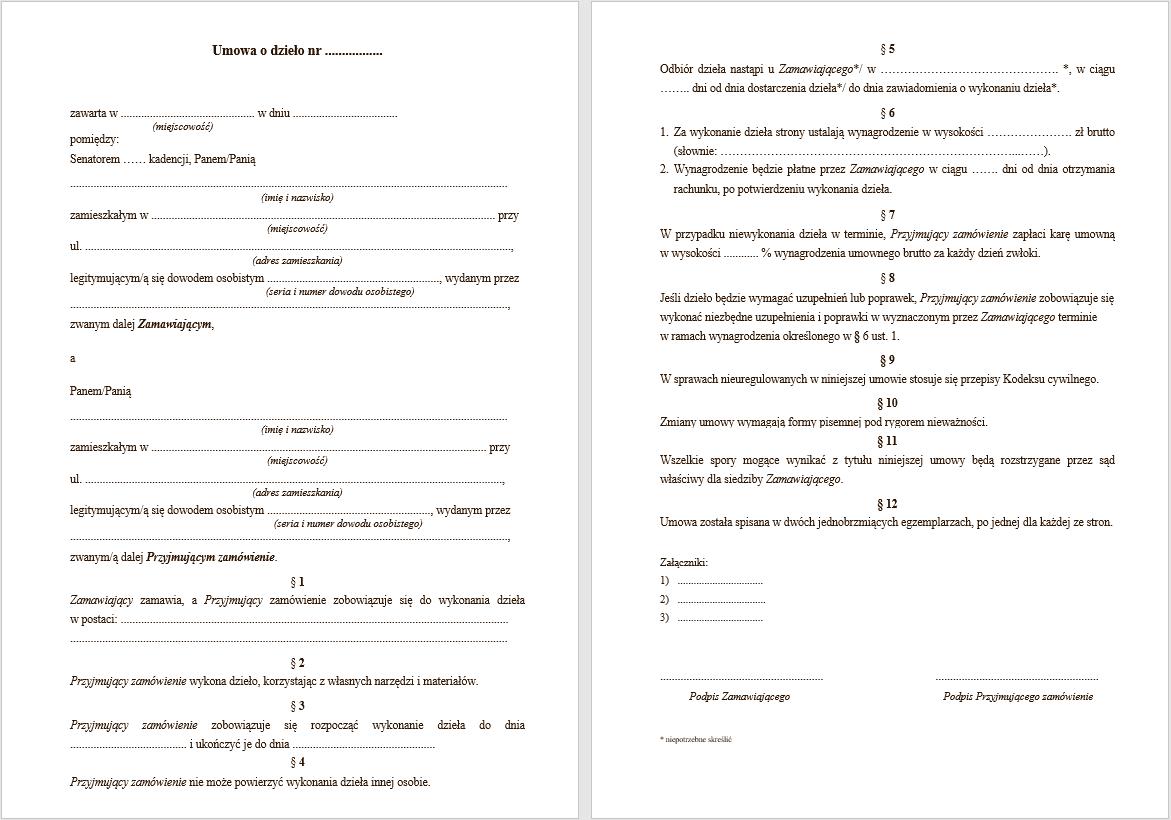 umowa o dzieło - wzór